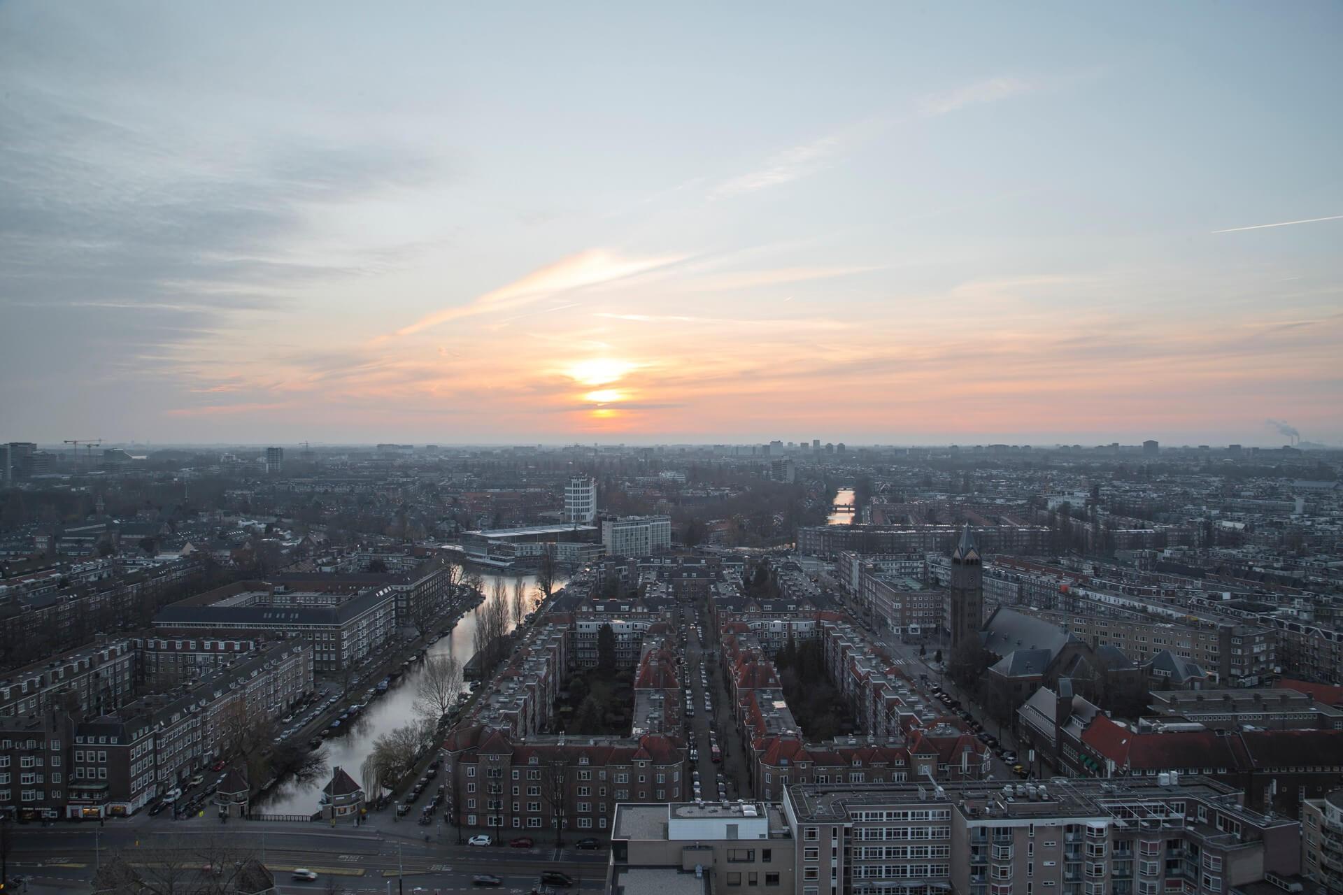 Evening glow view from Hotel Okura Amsterdam