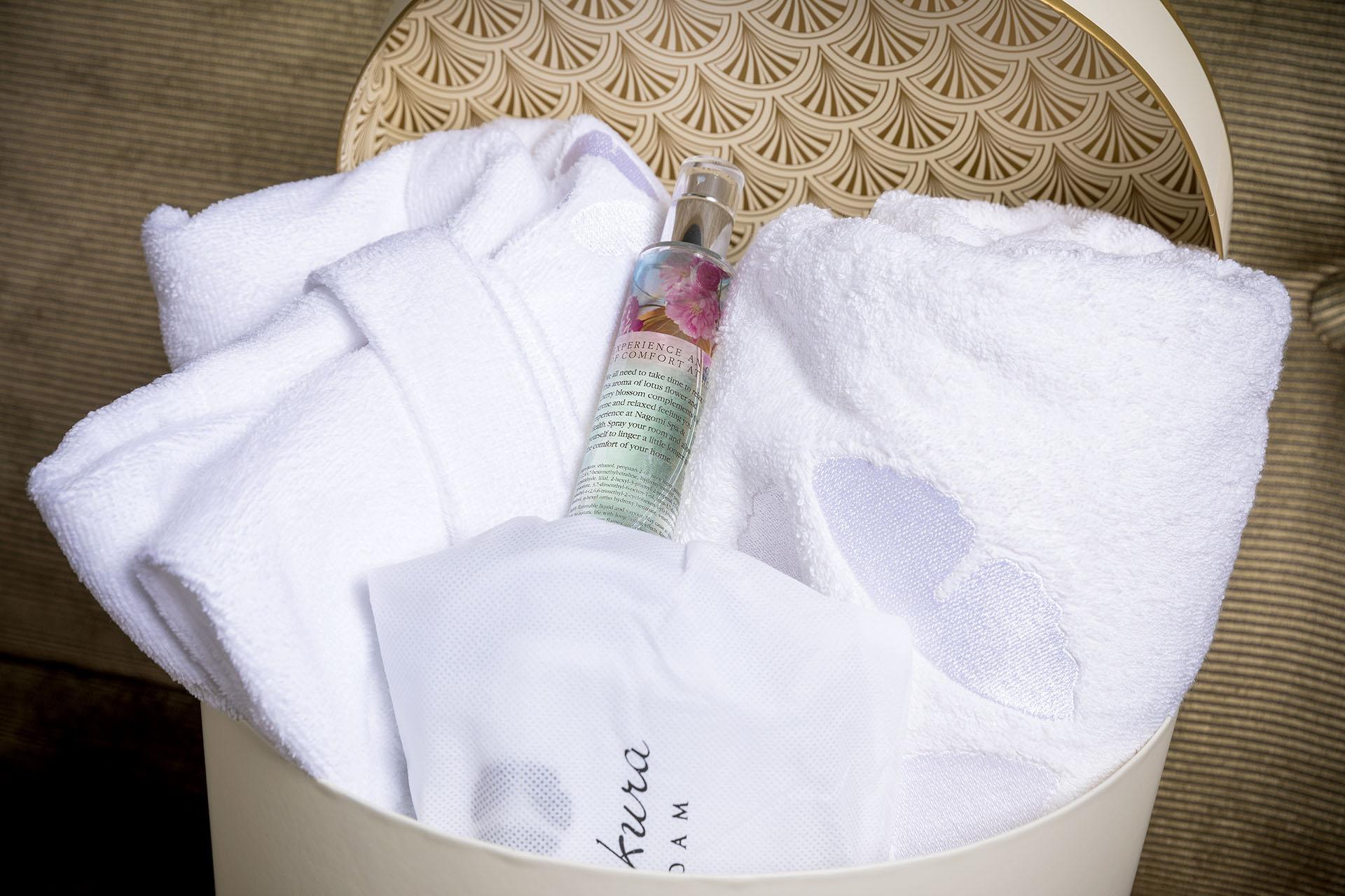 Gift box bathrobe, towel, slippers and room spray